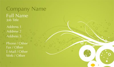 Lime Green and White Circles Business Card Template